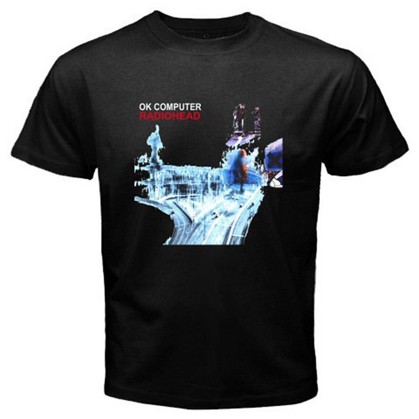 New RADIOHEAD OK COMPUTER Rock Band Logo Men's Black T Shirt Size S To 3XL Tshirt Tops Summer Cool Funny T-Shirt Large Size