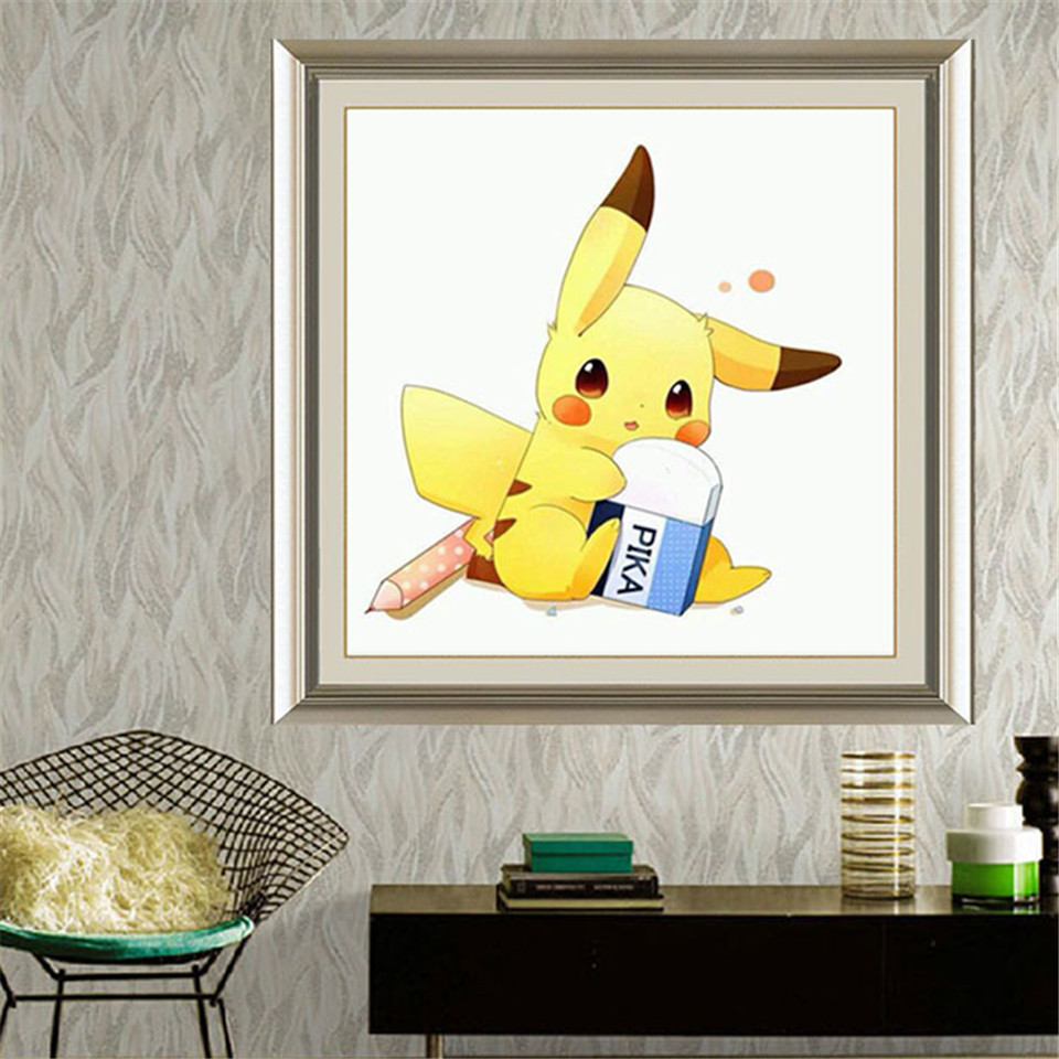 DIY Diamond Embroidery Painting Childrens Toy Game Pika Pikachu Pokemon Hand Made Cross Stitch for Kids Room Decoration Gift