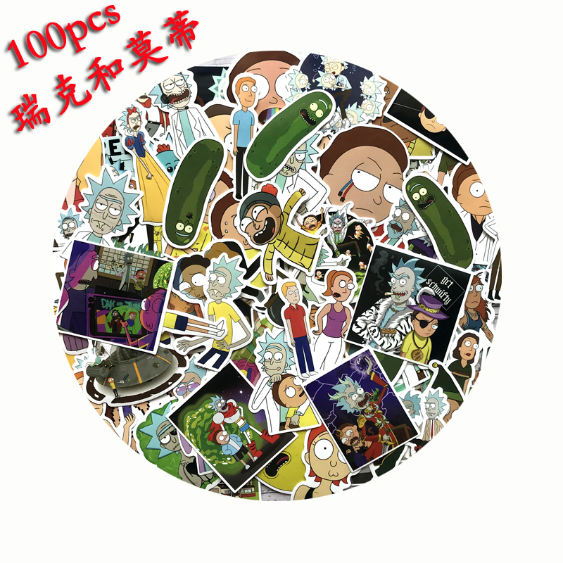 Bild von 100Pcs Rick and Morty Waterproof Anime Sticker For Guitar Laptop Motorcycle Laptop Phone Stickers Skateboard Luggage Decal Toy