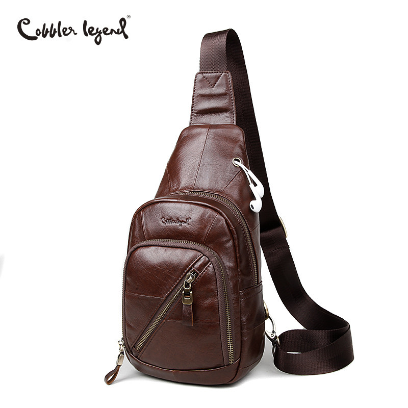 Cobbler Legend Shoulder Bag Genuine Leather Bag Single Strap Sling Leather Chest Pack Mens Chest Bags Men Messenger Bags Brand promotion 6pcs 100