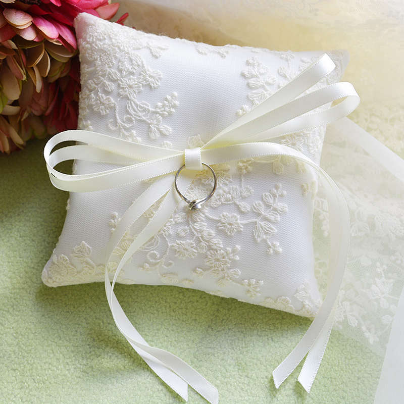 Top Quality wedding ring pillow Cushion Lace Decoration Bearer Pillows Engagement Pocket Party supplies13x13cm