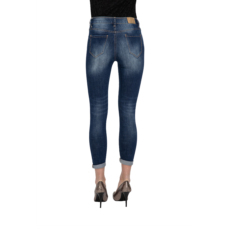 My Will Jeans Blue Tight-Fitting Four-Faced Cowboy  Broken Hole Patch 7082 Made In China