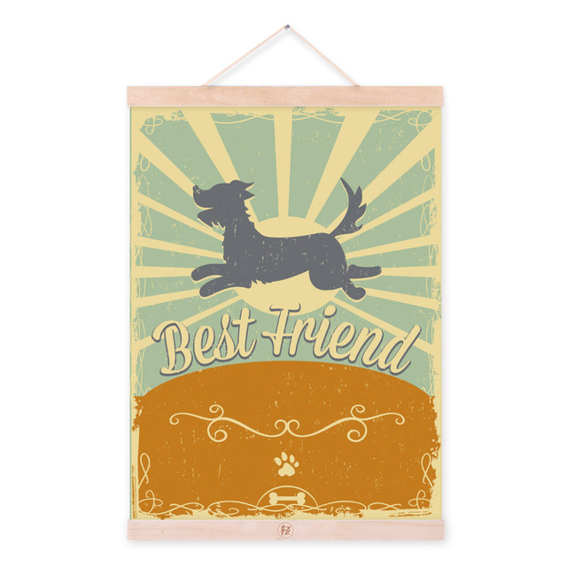 Modern Vintage Retro Dog Friendship A3 Large Poster Print Pet ...