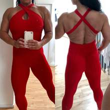 Drop Shipping Red Booty Bodysuit Fitness mamelucos mujer mono sin espalda Halter a través del mono Sexy(China)