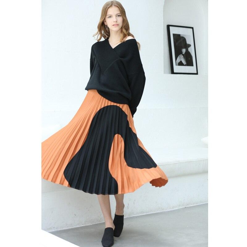 Amii Women Minimalist 2018 Autumn Skirt Chic A Line Elegant Pleated Geometric Contrast Color Female Skirts
