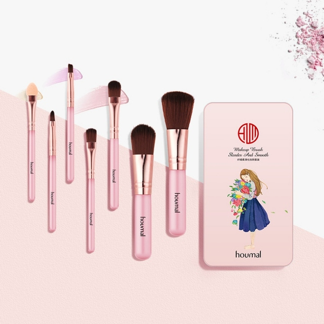 7 piezas de sombra de ojos cepillo de cejas profesional cepillo de maquillaje cosméticos de belleza Kits de pestañas brochas maquillaje 2019