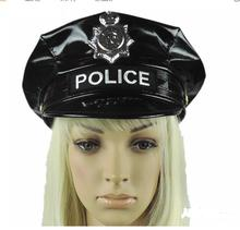 Black PU Military Hat Performance Stage Show Octagonal Cap Police For Girls