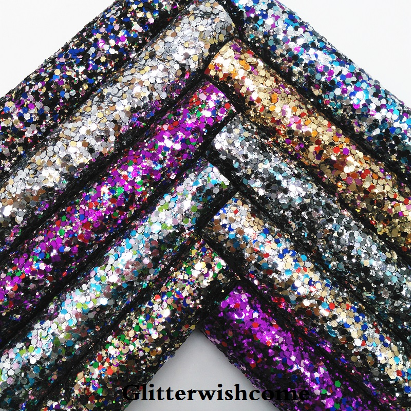 Glitterwishcome 21X29 см A4 размеры синтетическая кожа, Смешанный Цвет Коренастый блестящая кожаная ткань винил для Луки, GM067A