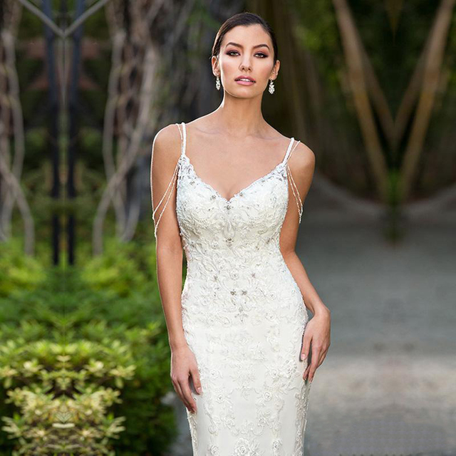 LORIE 2019  Sexy Mermaid Beach Wedding Dress Lace Appliqued Bride Dress Detachable Train Wedding Gown Sleeveless Bride Dress 3