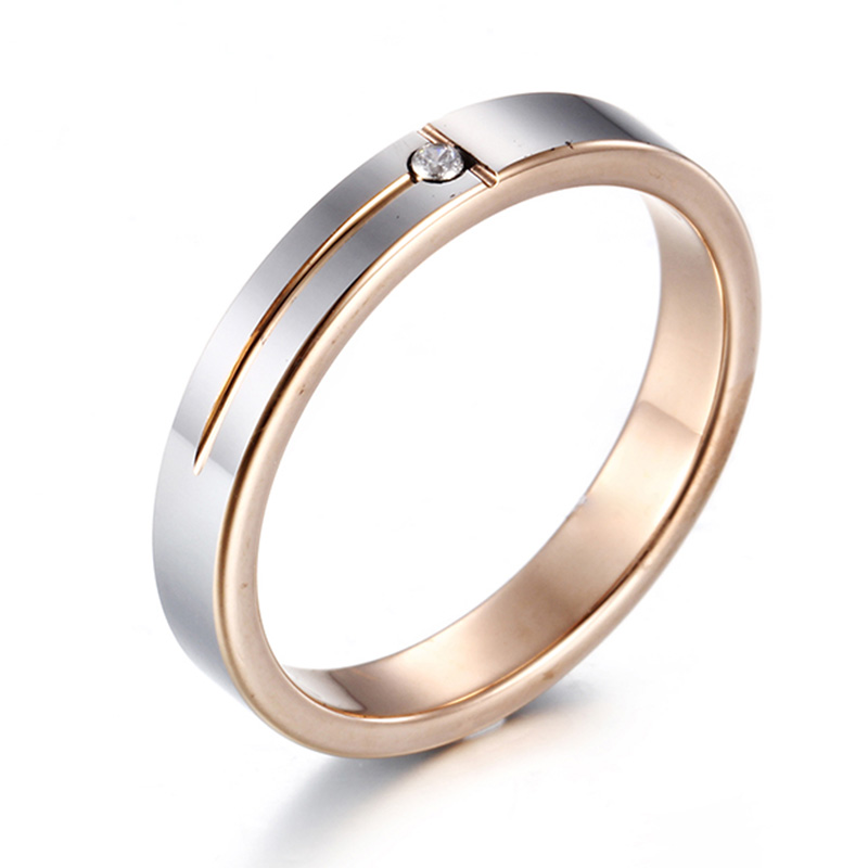 Female 4mm Authentic Tungsten Carbide Ring Fashion Shining Zirconia Round Solitary Wedding Engagement Ring for Women