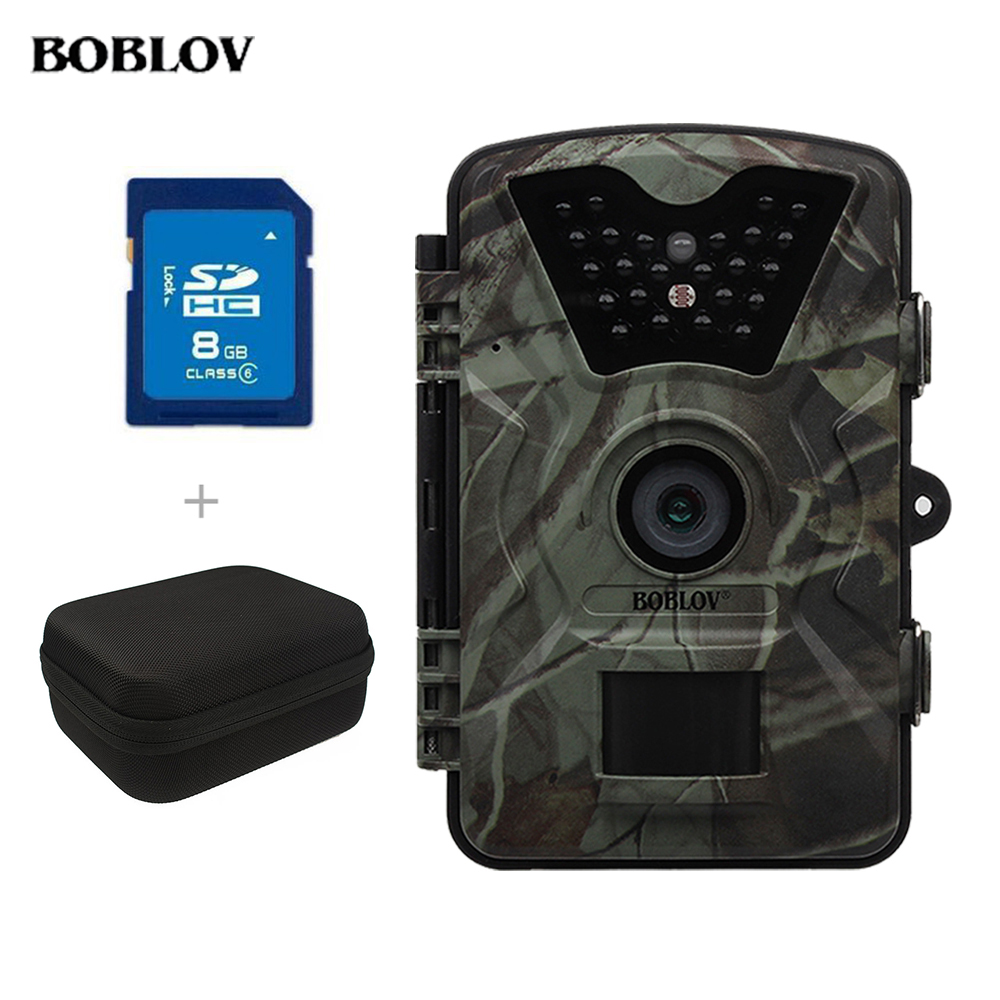 BOBLOV CT008 940nm Night Vision Hunting Camera 12MP 1080P 2.4 LCD Infrared Scouting Trail Cam No Glow+8GB SD Card+Carrying Bag 940nm scouting hunting camera 16mp 1080p new hd digital infrared trail camera 2 inch lcd ir hunter cam