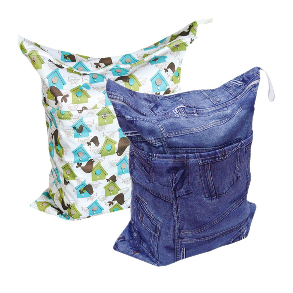 ABWE Best Sale Baby 2pcs Cloth Diaper Wet Bags, Wet and Dry Cloth Diaper Bags