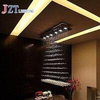 T Luxury Rectangular Spiral Crystal Ceiling Light GU10 LED Bulbs Modern Creative Indoor Lighting For Bar