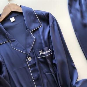 Image 5 - 2019 גברים פיג מה סטי עם מכנסיים משי פיג מה אביב קיץ הלבשת Pyjama אלגנטי לילה ללבוש Nightsuits