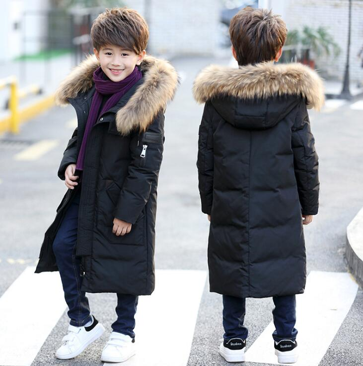 Mid-long Boys Down Jacket Warm Duck Down Sloid Color Coats Long Sleeve Children Casual Fur Hooded Jackets Winterjas Kinderen long long