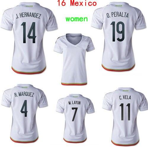 66b11988aeb51 15 16 Mexico Women Jersey Soccer white J.HERNANDEZ CHICHARITO O.PERALTA  2016 Mexico