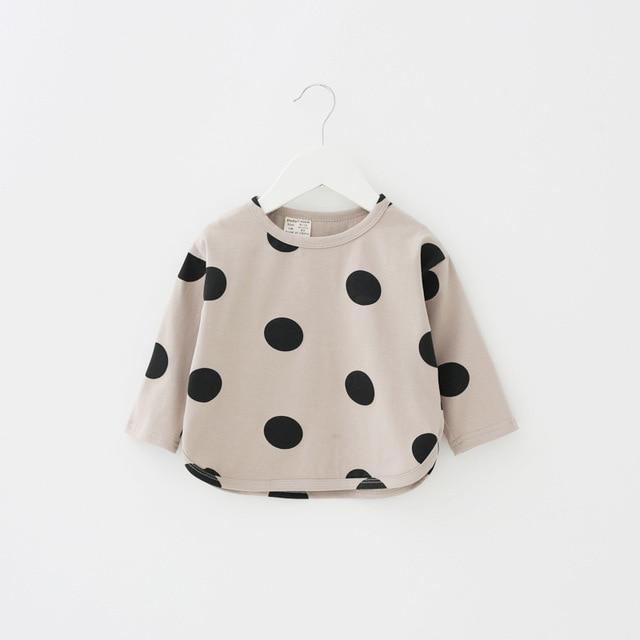 aab17ffb8 Dudu Cream Baby Girls T Shirts Cotton Shirts T shirt Printing Polka ...