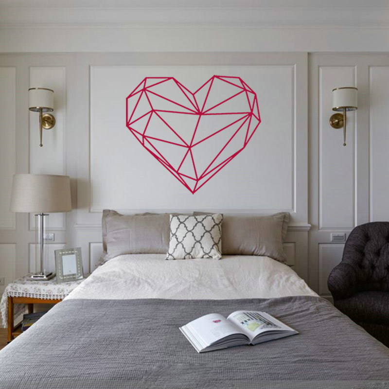 geometric heart diy wall sticker for home decor minimalism nordic