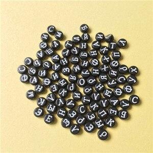 Image 5 - Groothandel Acryl Russische Letters Kralen 4*7MM Platte Ronde Coin Vorm Wit met Zwarte Afdrukken Plastic Alphabet Initial kraal