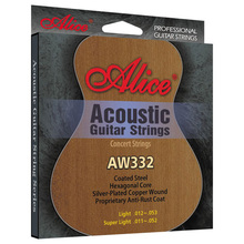 ALICE Musical Instrument Strings /011-052 or 012-053 Acoustic Guitar Strings / Silver-Plated Copper Wound Music Wire 6 pcs/set