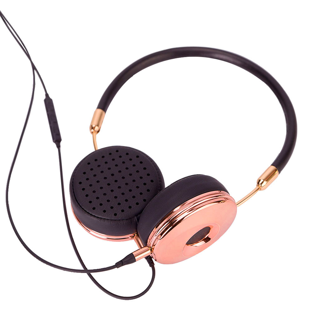 New Fashion Wired Headband HiFi hörlurar Portable Rose Gold Headset Fone De Ouvido för MP3-spelare Mobiltelefon med väska BH870