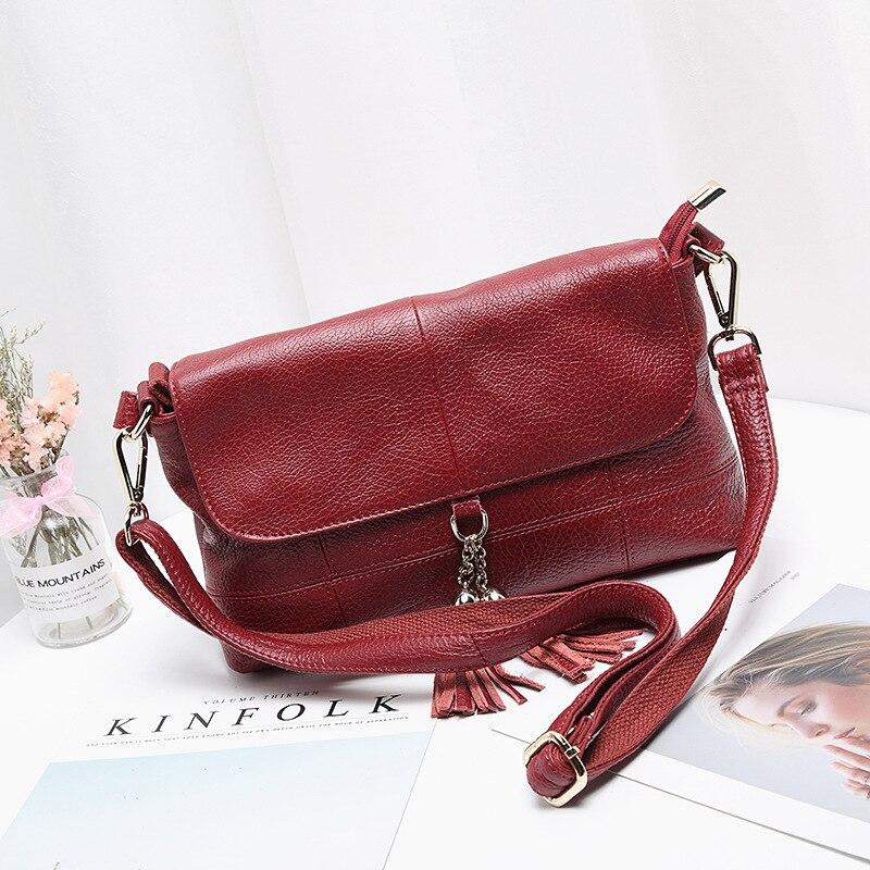 100% Echtem Leder Frauen Handtaschen 2019 Mode Luxus Marke Schulter Taschen Quaste Messenger Taschen Damen Reise Umhängetaschen