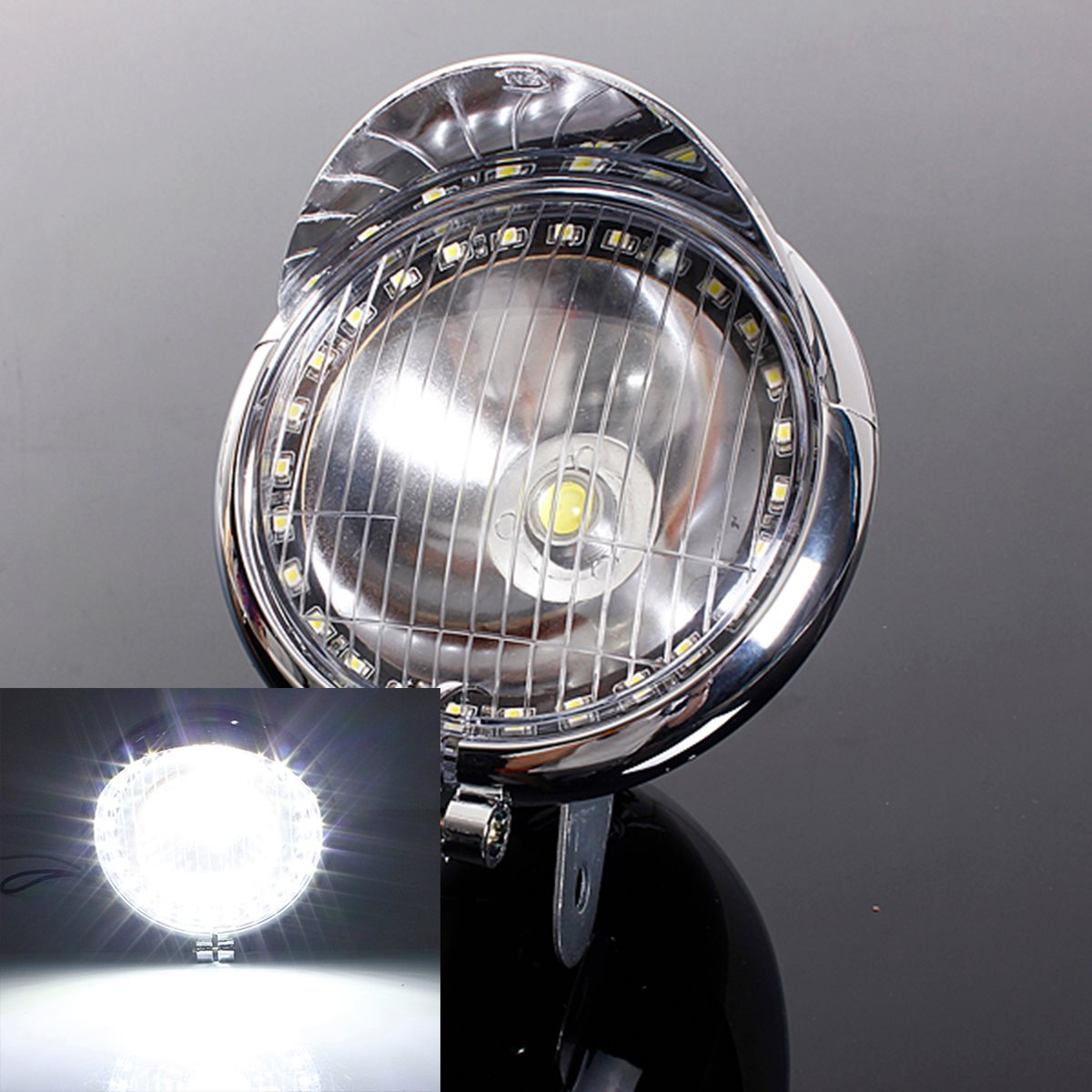 12V Motorcycle 27LED Angel Eye Light Fog Light 1COB LED Headlight Lamp For Harley Chopper Bobber