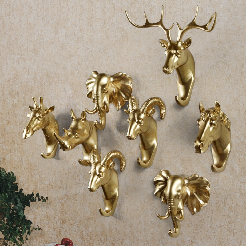 Creative Wall and Door Dekorativ Resin Hanger Animal Head Modeling European Style Overcoat Kroker Elephant Deer Horse Bag Hanger