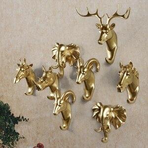 Yaratıcı duvar ve kapı dekoratif reçine askı hayvan kafası modelleme avrupa tarzı palto kanca fil geyik at çanta askısı
