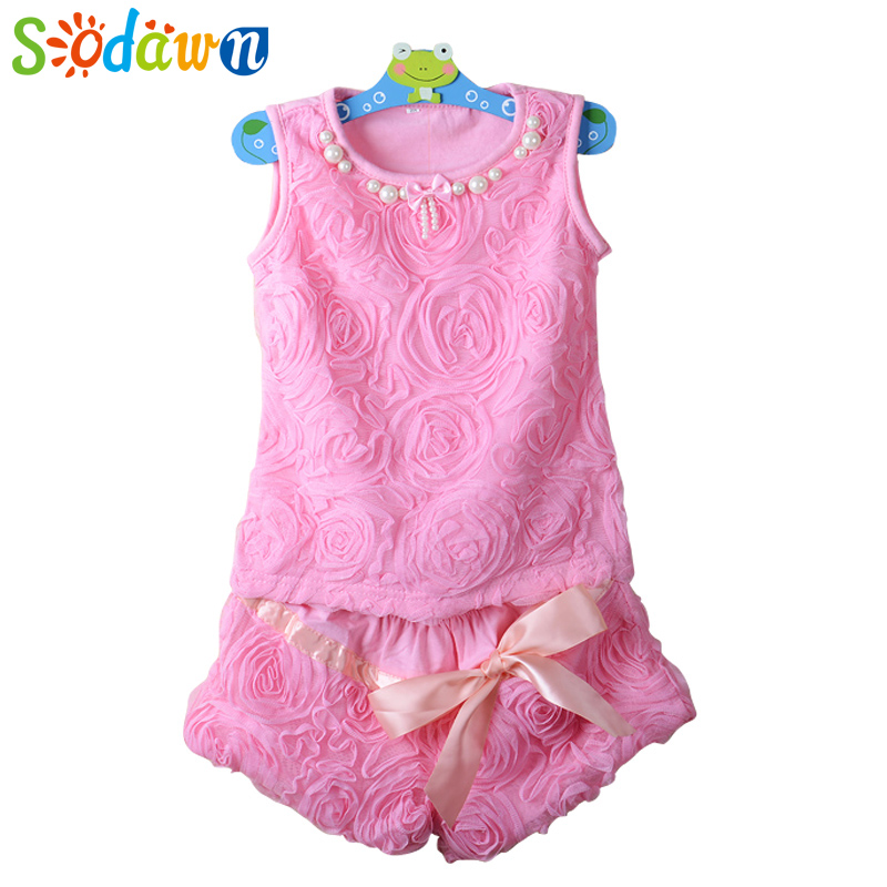 Sodawn High quality New Summer Lace Kid Girl Clothes Set T Shirt And Lattice shorts Pants Children Clothing Set s