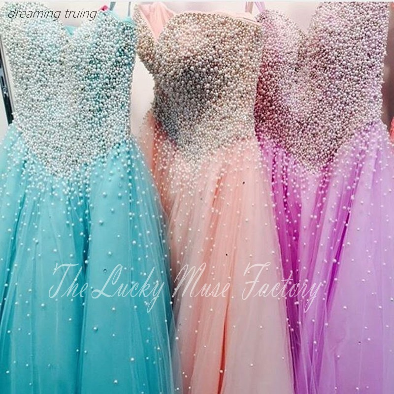 Modest Pearl Beaded Sweetheart Ball Gown Prom Quinceanera Dresses Corset Girl Party Gowns Cheap Long 15 Year Old Dresses