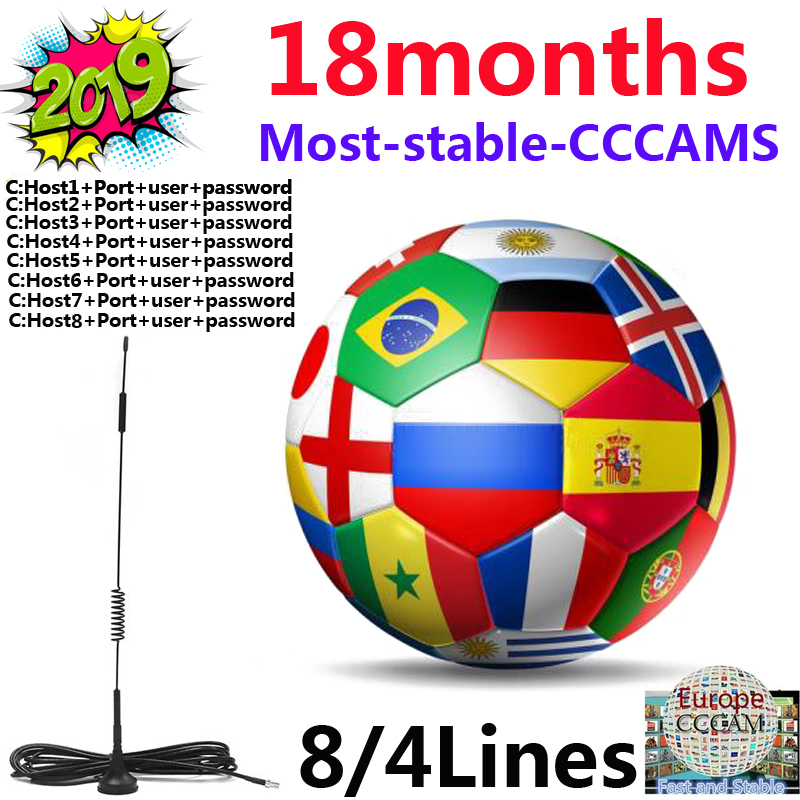 2019 Most Stable Cccams For Europe Spain Satellite Tv Receiver 4/8lines WIFI FULL HD