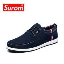 9c910ef26 SUROM мужская обувь ловседневная настоящая кожа Замша макасины туфли  мужские люксовый бренд лето моды лодка обувь