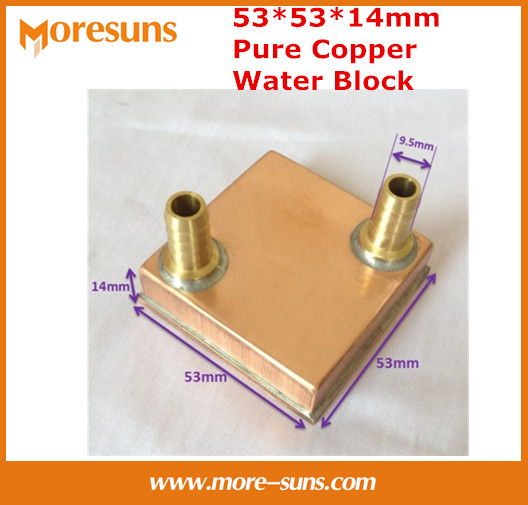 Free shipping Pure copper 53*53*14mm Water Cooling Block,Computer CPU Water Block server water-cooled radiator