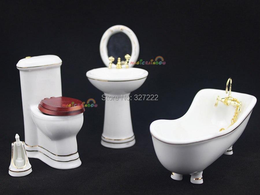Bathroom Bathtub Toilet Basin Mirror Brush Porcelain Dollhouse ...