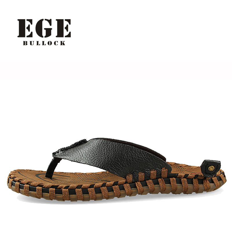 Men Sandals Summer EGE Brand Genuine Leather High Quality Beach Shoes New Arrival Casual Shoe for Men