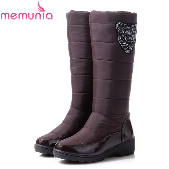 De gran tamaño 2016 nueva moda de Rusia de mantener a las mujeres calientes botas de nieve punta redonda plataforma rodilla botas altas botas de invierno de piel
