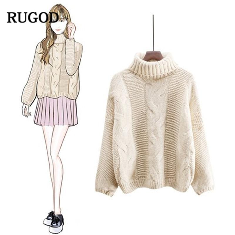 Suéter de cachemira de cuello alto Vintage de RUGOD para mujer 2018 ...
