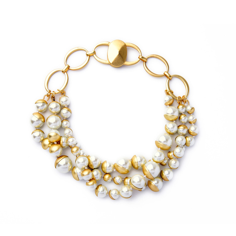 9fb72d3f978f 2016 Nuevo estilo imitación perla declaración collar multi Strand  Accesorios cobre collar joyería para mujeres regalo