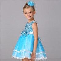 New Brand Summer Children Girls Dress Sequined Sleeveless Cute Waist With Bowknot Children S Clothes Lace