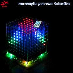 Zirrfa 3D8 متعدد الألوان البسيطة LED cubeeds DIY كيت مع ممتازة الرسوم المتحركة 8x8x8 led الموسيقى الطيف الإلكترونية diy كيت