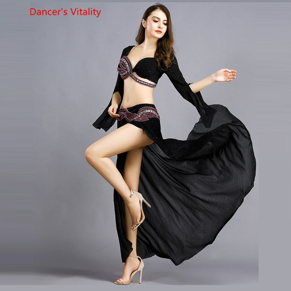 Elegant Women Professional Belly Dance Costume Handmade 2 pieces Set Bra Skirt Luxury Indian Pearls Professional