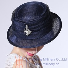 Free Shipping Women Hat Summer Elegant Ladies Organza Hat Navy Fedora Pork Hat for Ladies