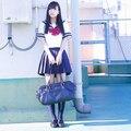 Japonés traje de marinero Niñas Alta escuela cosplay uniforme de estudiante JK uniforme personalizada camiseta de la corto-manga de la pajarita falda