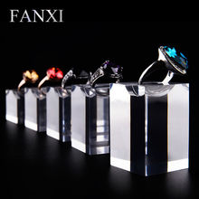 FANXI Free shipping custom high transparency acrylic jewellery show case stand for shop counter Plexiglass ring exhibitor set