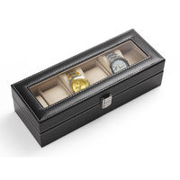 Hot 6 Grid Luxury Refinement Slots Wrist Watches Gift Case Jewelry Display Box
