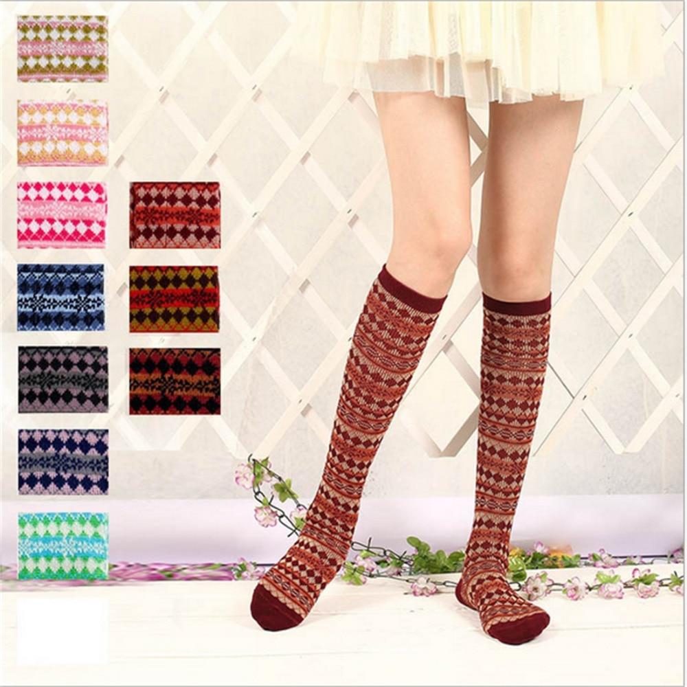 878307a601d Winter New Woman Cotton Over Knee Socks Warm Thigh Highs Hose Stockings  Jacquard Design Long Socks