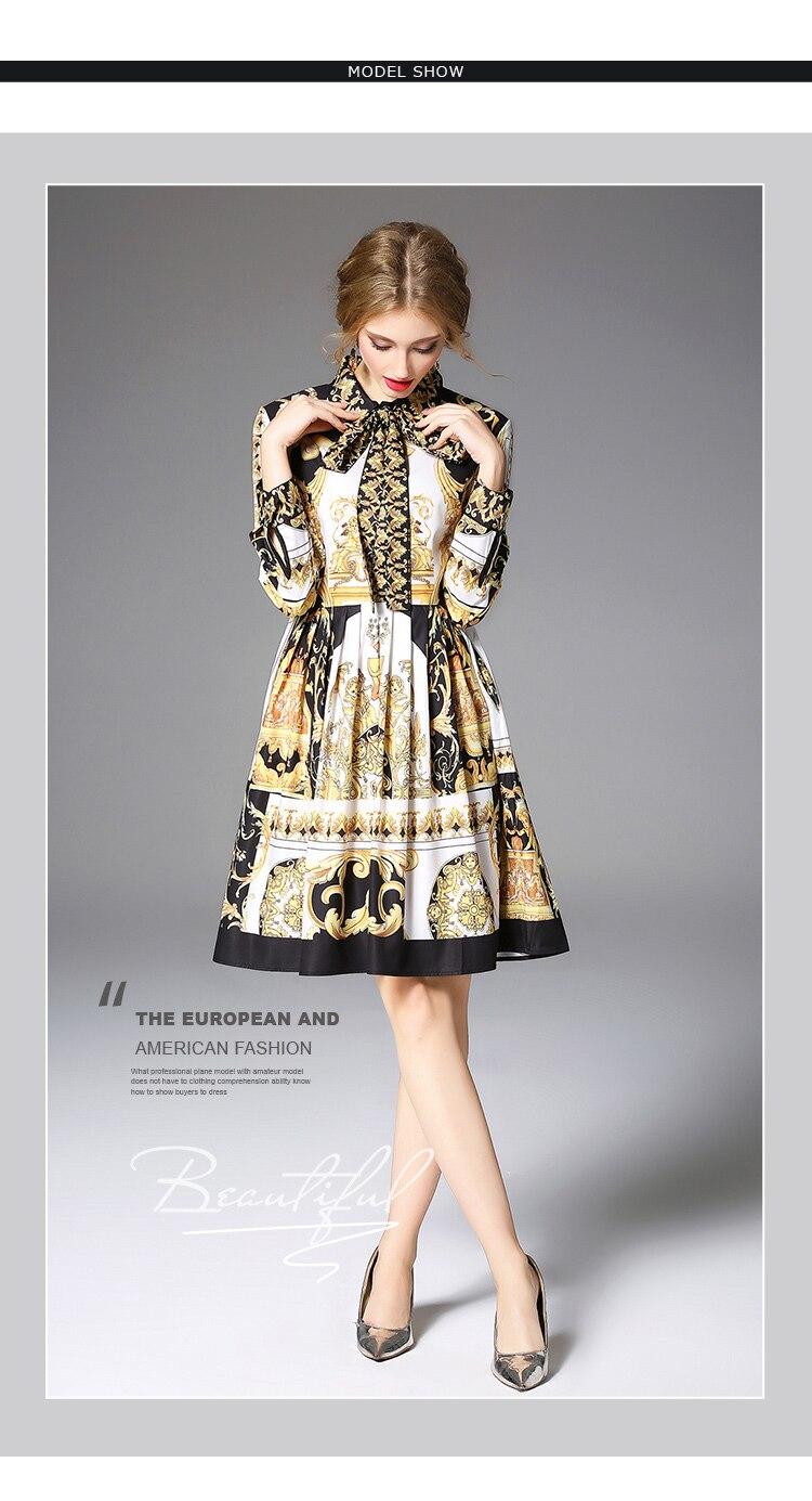Long Sleeve Bow Collar Baroque Printing Yellow Dress 1
