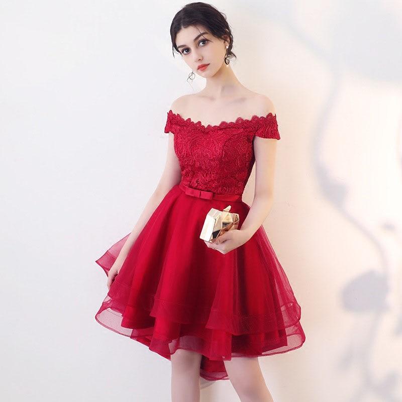 Red Sexy Cocktail Dresses Mini Women Avondjurken Gala Jurken Lace One-shoulder Evening Party Gown Bandage Vestidos De Festa