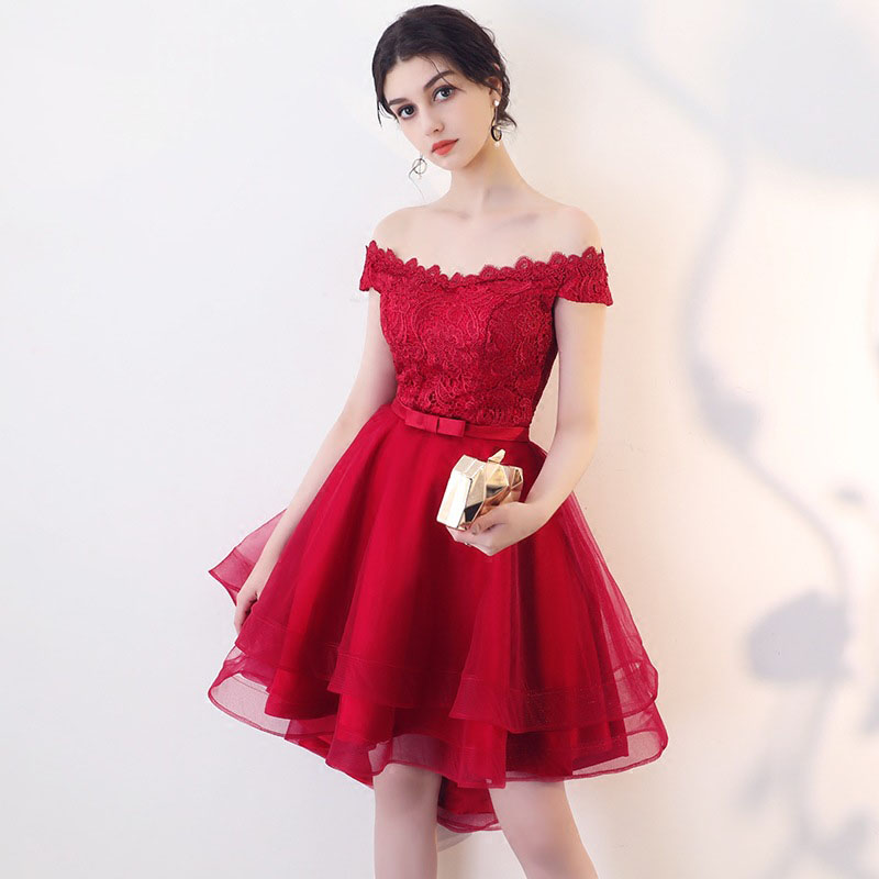 Red Sexy   Cocktail     Dresses   Mini Women Avondjurken Gala Jurken Lace One-shoulder Evening Party Gown Bandage Vestidos De Festa